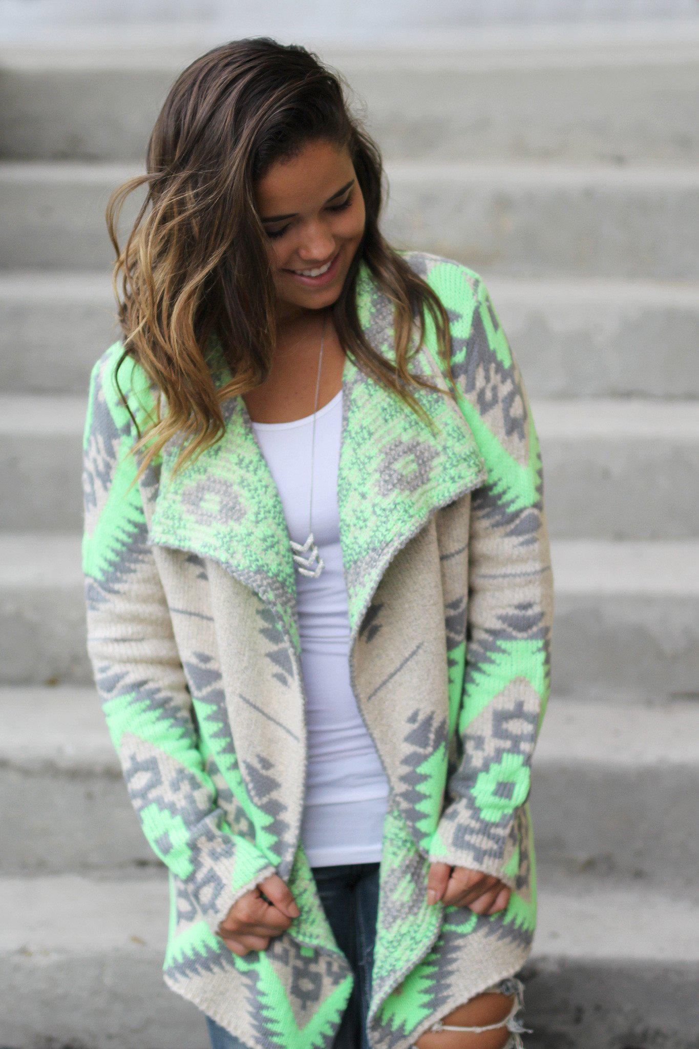 neon lime and gray Aztec cardigan