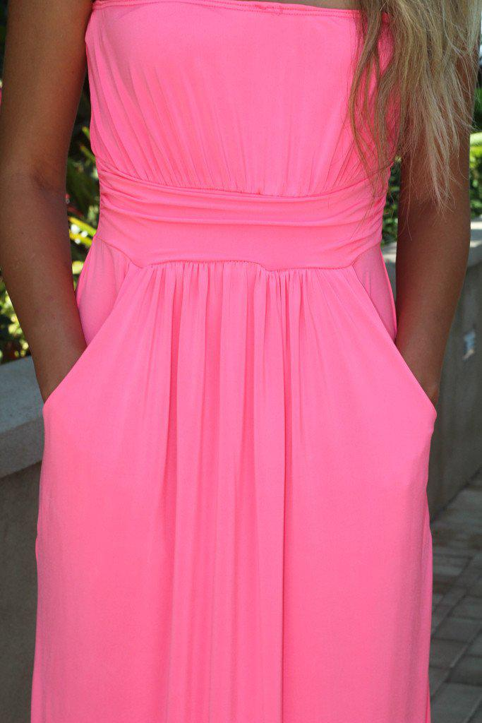 Strapless Neon Pink Maxi Dress With Pockets