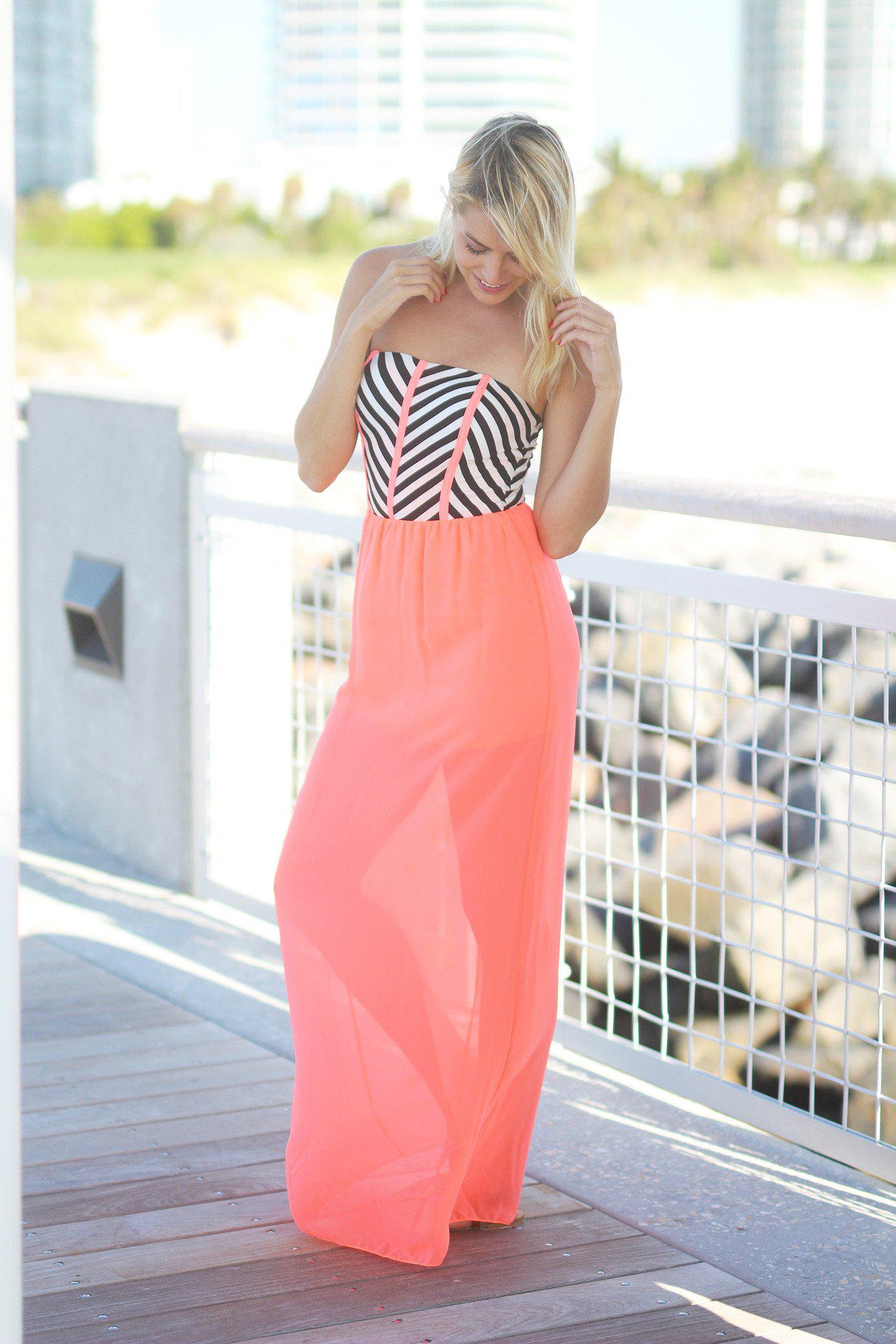 Neon Coral Maxi Dress with Striped Top