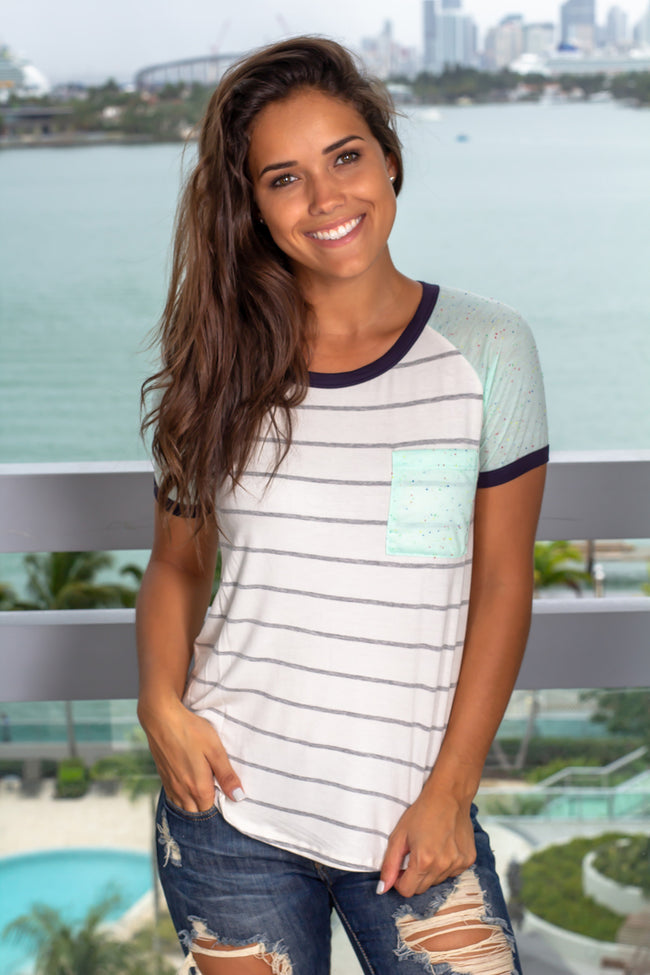 Neon Mint Striped Top