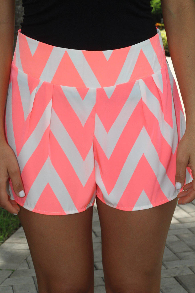 Neon Peach Chevron Shorts
