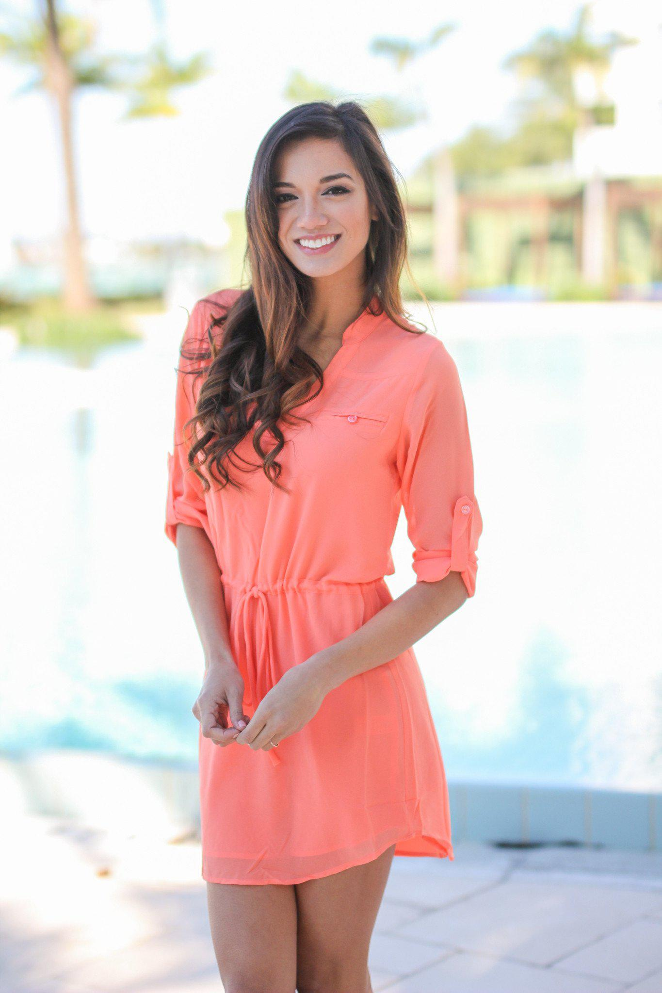 coral chiffon short dress