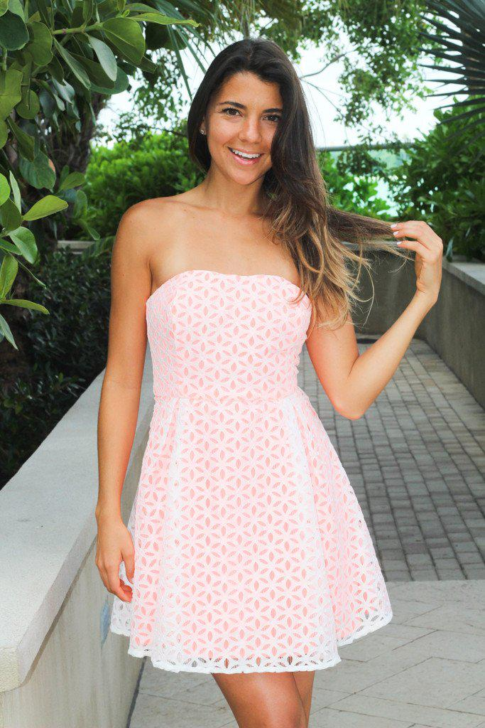 Neon Peach Lace Strapless Dress