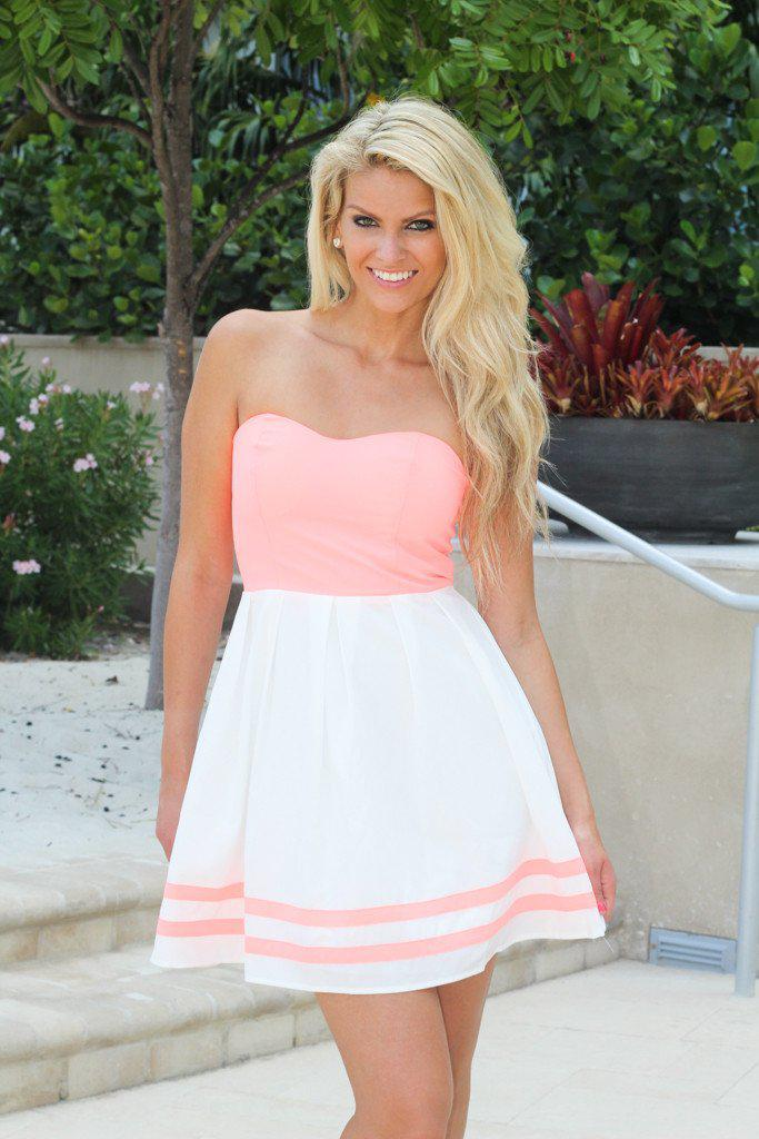 Neon Peach And Off White Short Dress