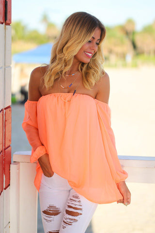 Neon Peach Off Shoulder Long Sleeve Top