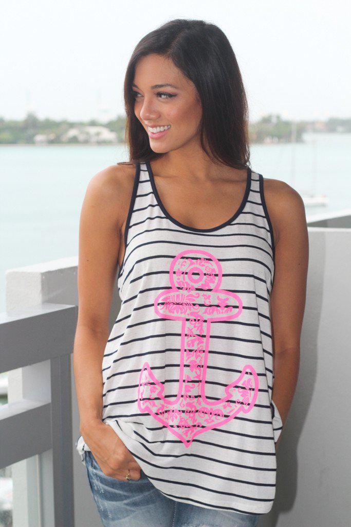 Anchor Neon Top With Back Bow