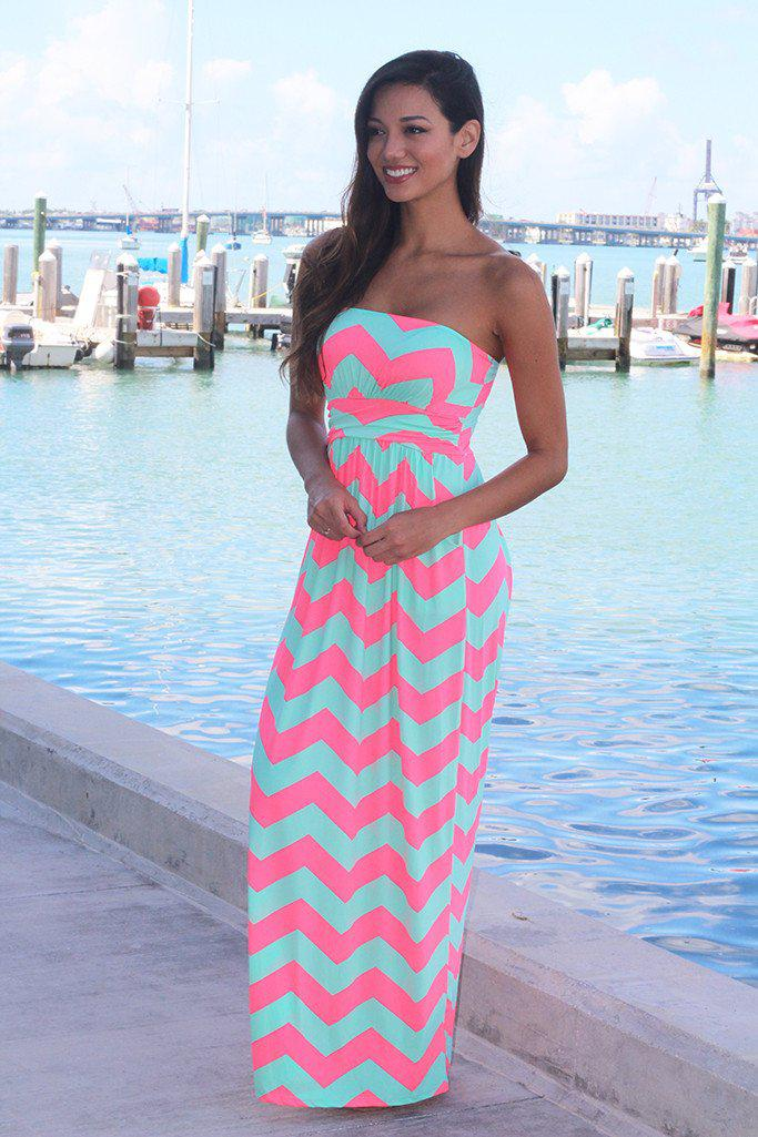 Neon Pink And Aqua Chevron Maxi Dress With Pockets