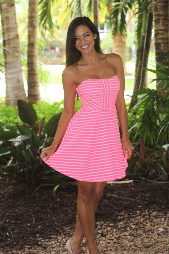 Neon Pink And White Striped Short Dress