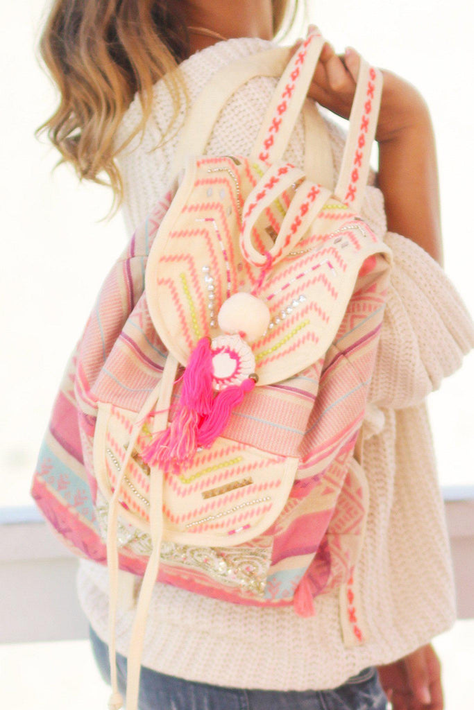 Neon Pink Aztec Backpack