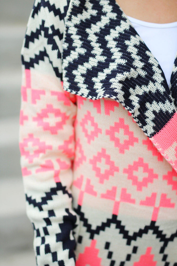 Neon Pink and Navy Printed Cardigan