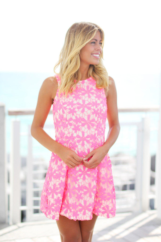neon pink cocktail dress