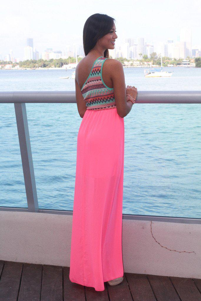 Neon Pink Maxi Dress with One Shoulder Top