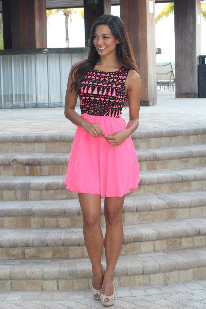 Neon Pink Short Dress with Printed Top