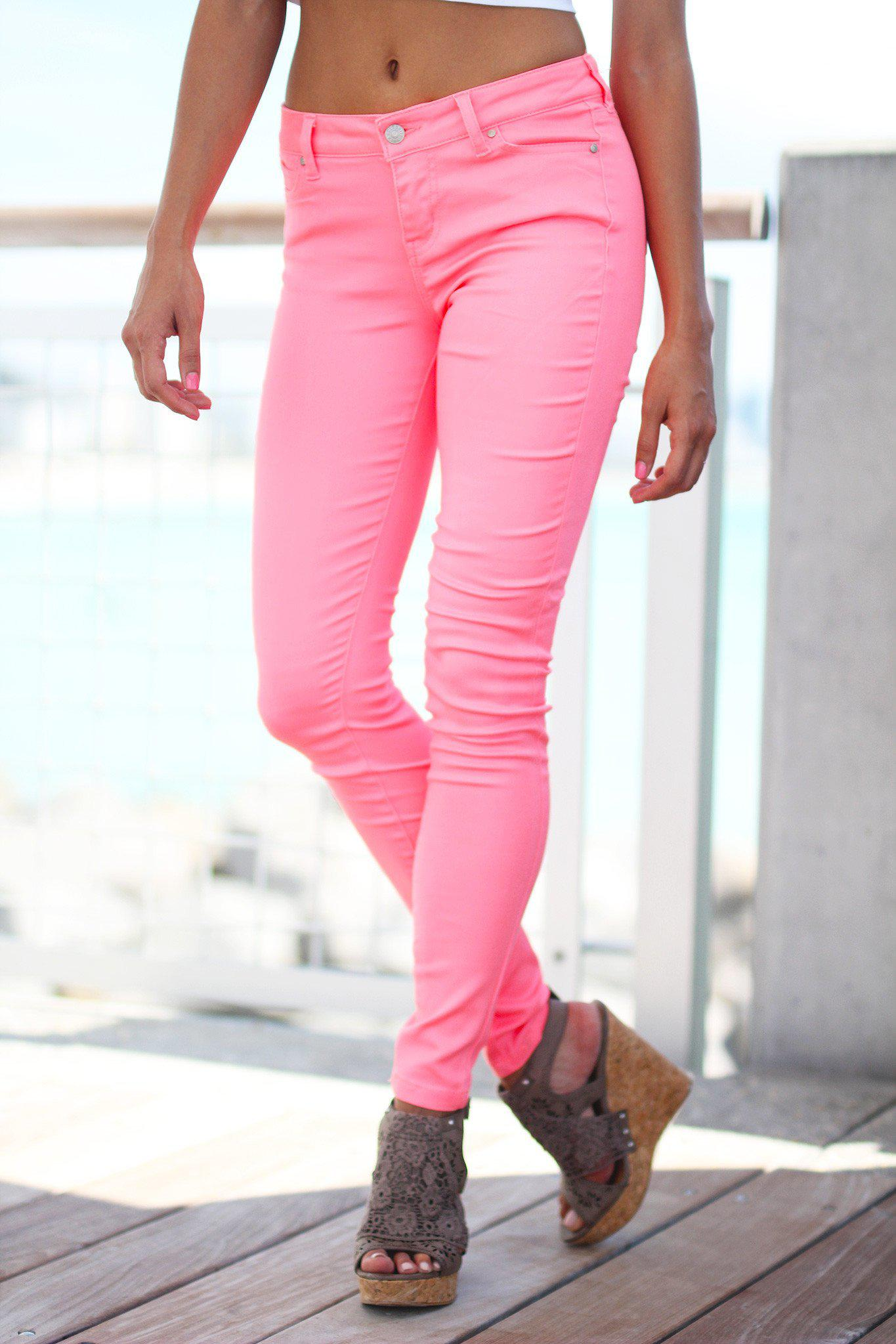 Pink Neon skinny jeans