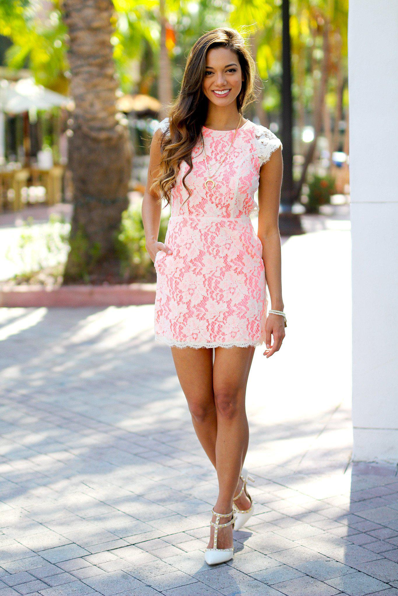 Neon Pink Lace Dress with Open Back