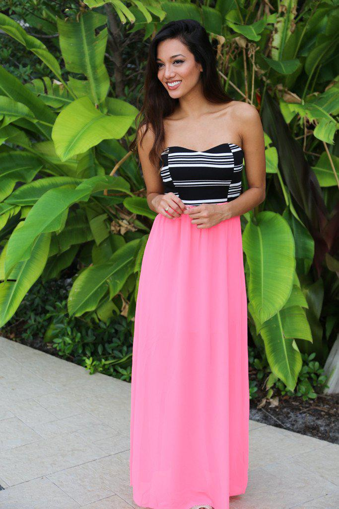 Neon Pink Maxi Dress With Striped Top