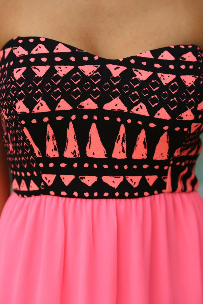 Neon Pink Maxi Dress With Printed Top