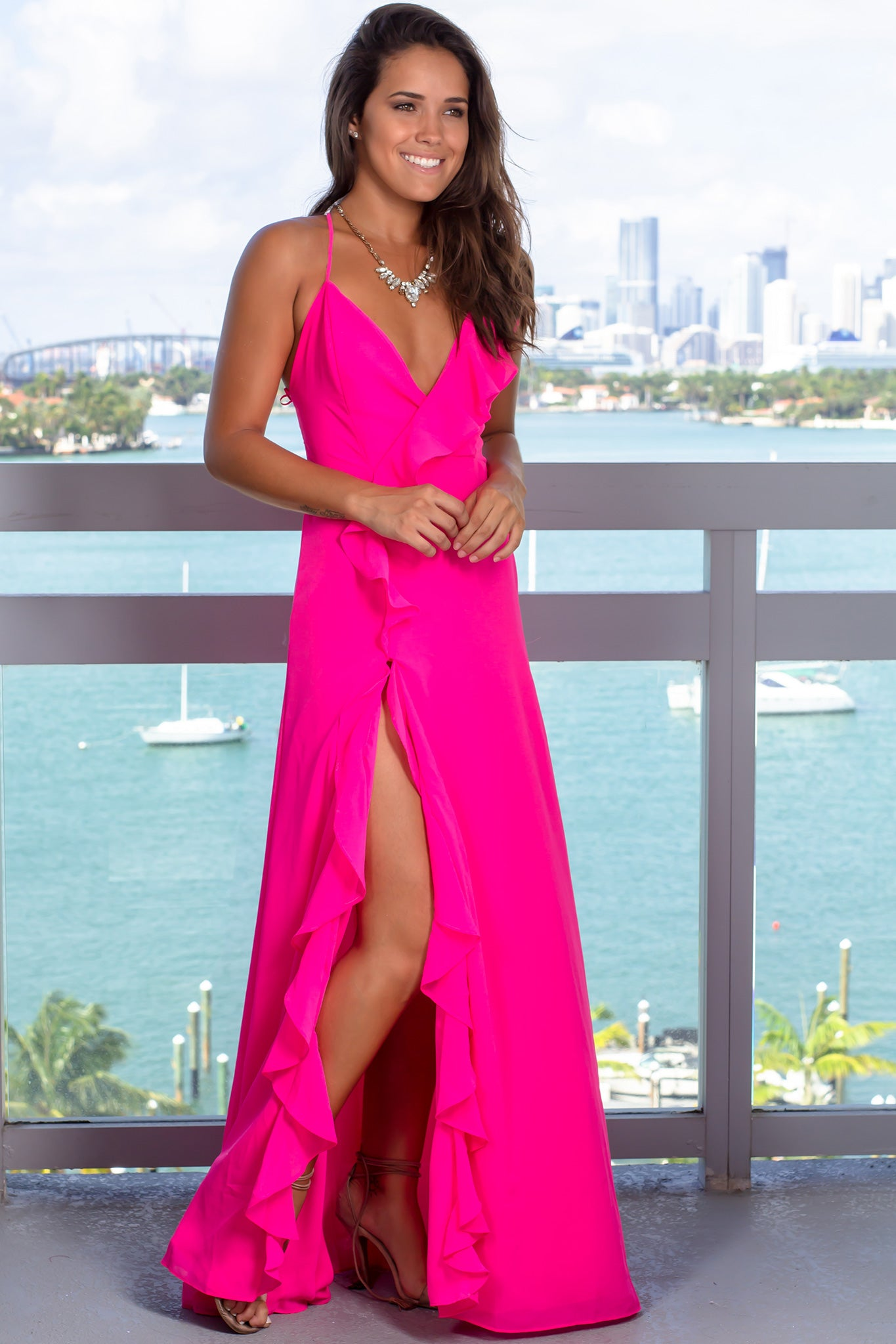 Neon Pink Maxi Dress with Ruffle Detail