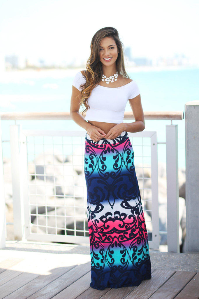 multi color printed long skirt