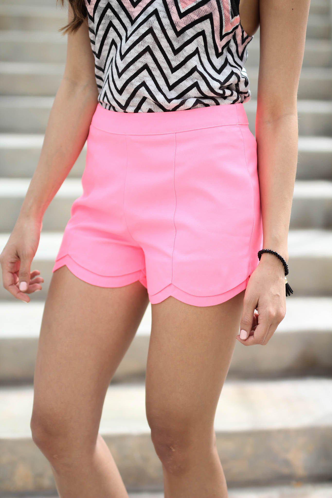 Neon Pink Scalloped Shorts