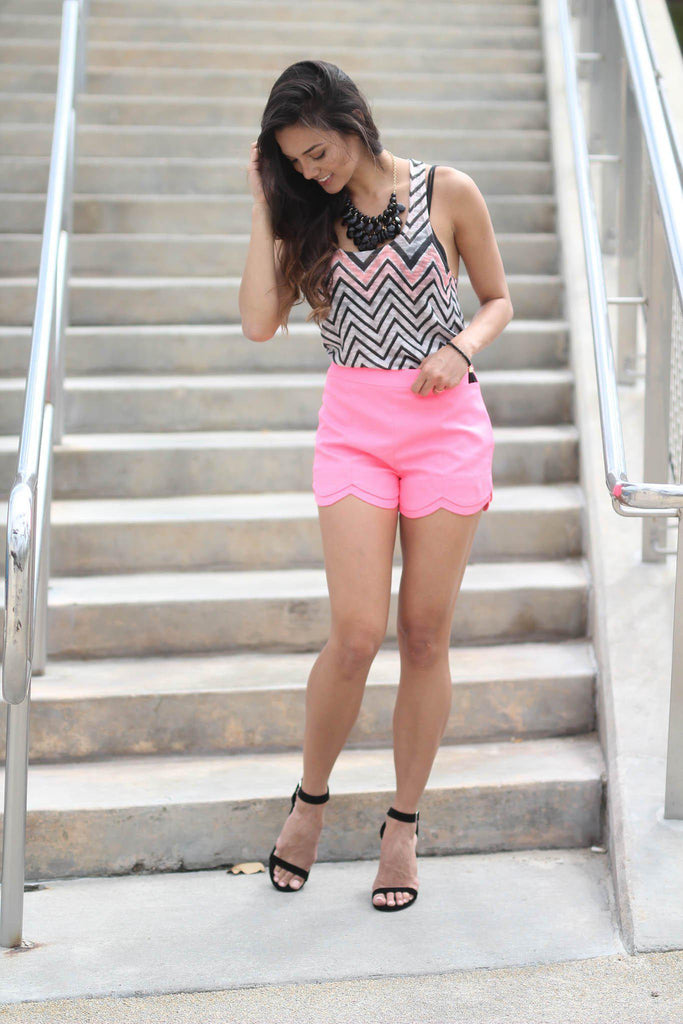 neon pink cute shorts