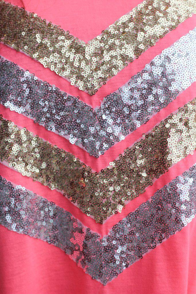 Neon Pink Sequin Tank Top