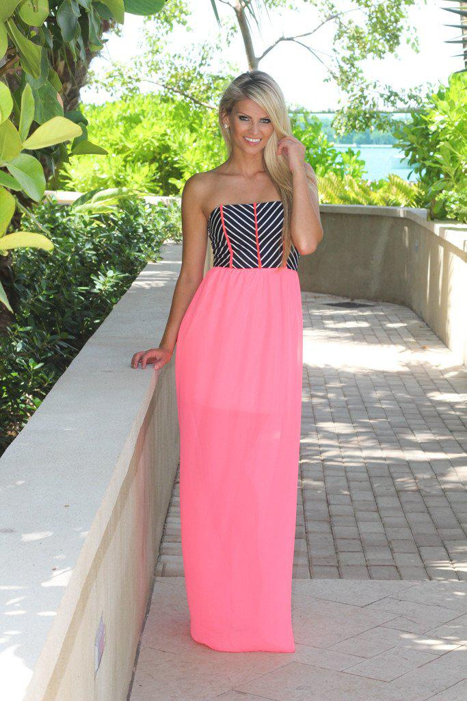 Neon Pink Striped Top Maxi Dress