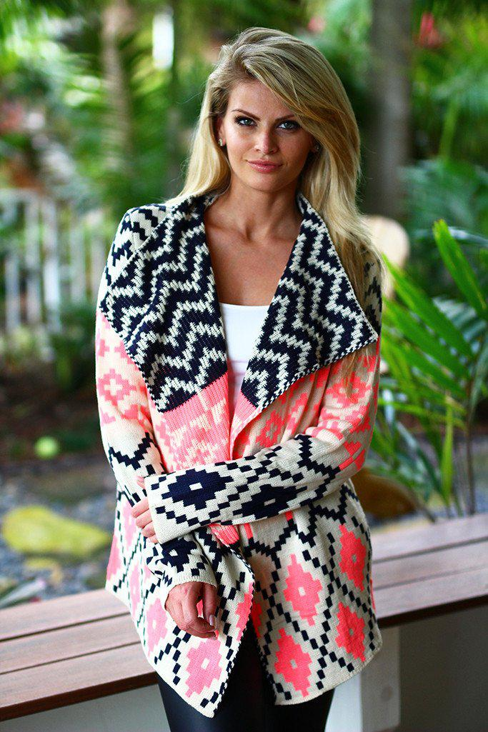 Neon Pink and Black Printed Cardigan