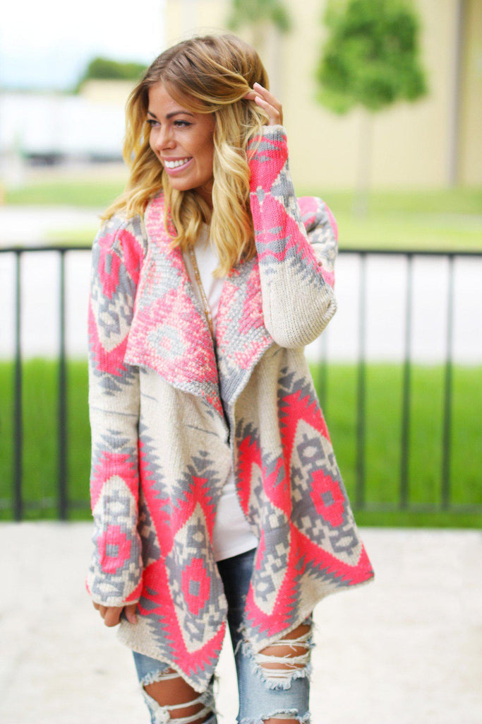 Neon Pink and Gray Aztec Cardigan