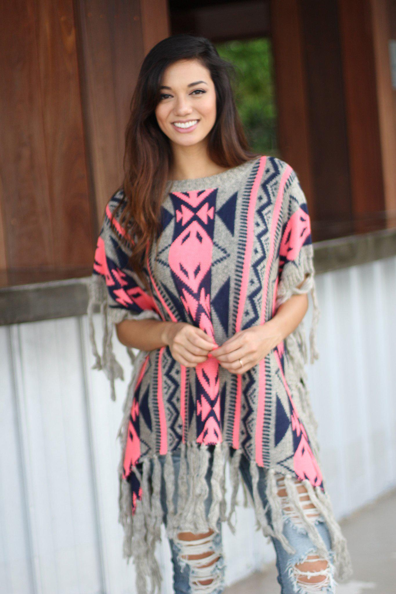 Neon Pink and Gray Poncho Sweater