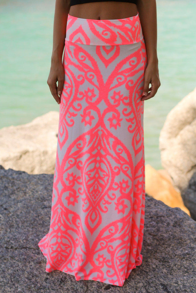 neon pink and ivory printed maxi skirt skirts � saved by