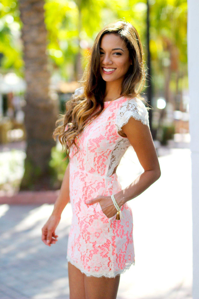 lace neon pink short dress