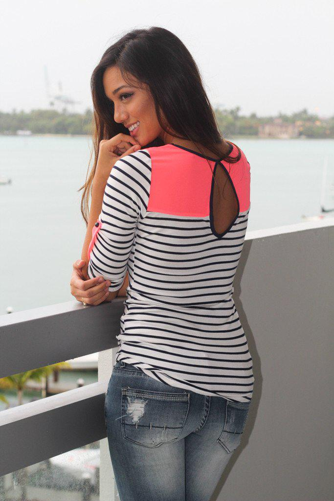 Neon Coral Striped Top With Pocket