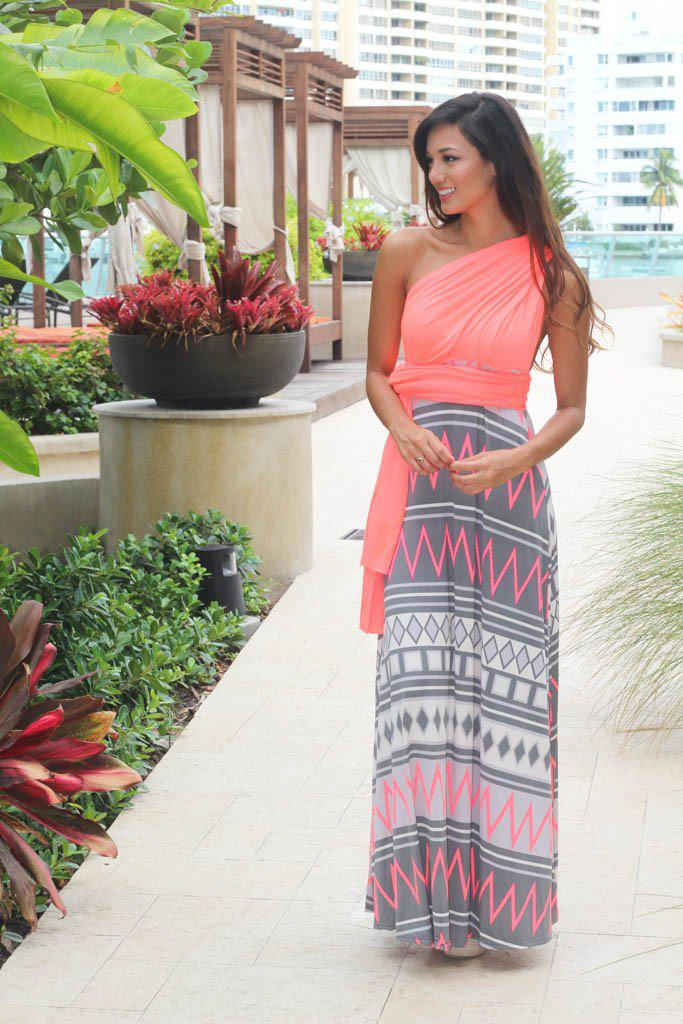 neon coral sleeveless dress