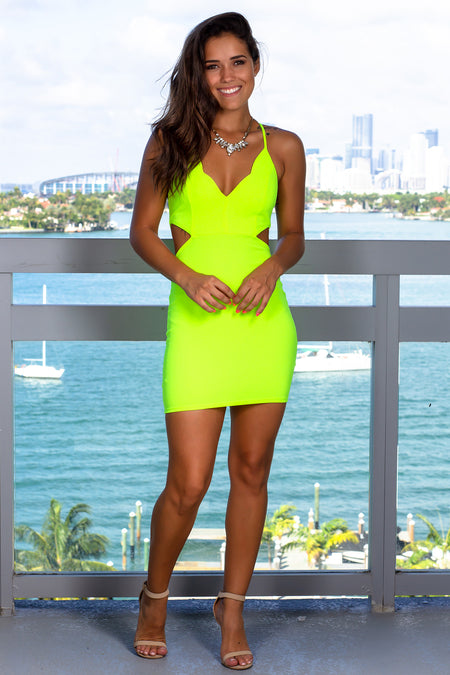 Neon Yellow Cut Out Short Dress with Scalloped Neck