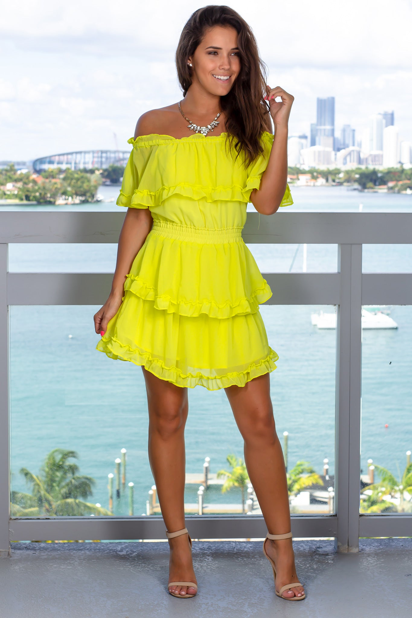 Neon Yellow  Off Shoulder Short Dress