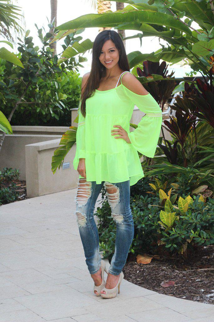 Neon Yellow Sheer Bell Sleeve Top