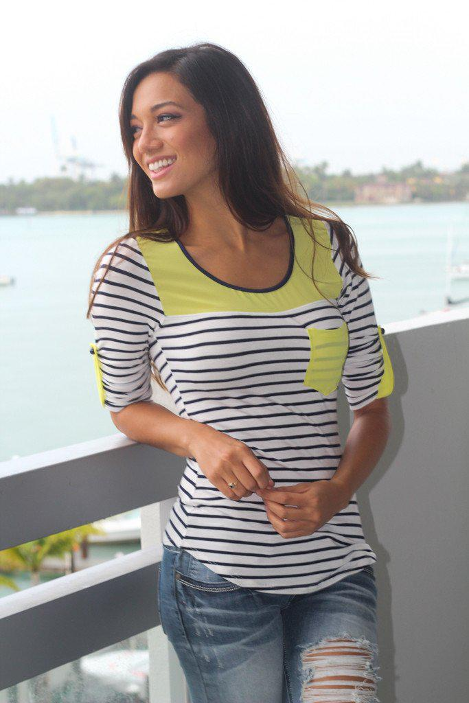 Neon Yellow Striped Top With Pocket