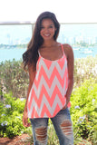 Neon Peach Chevron Racerback Top