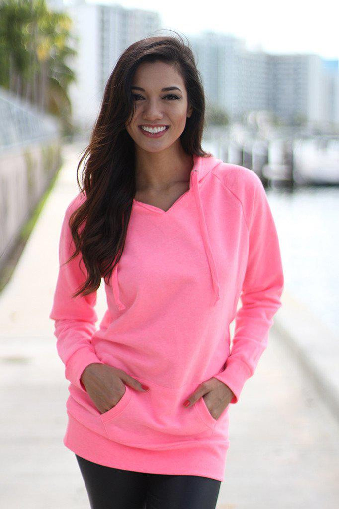 neon pink top with pocket