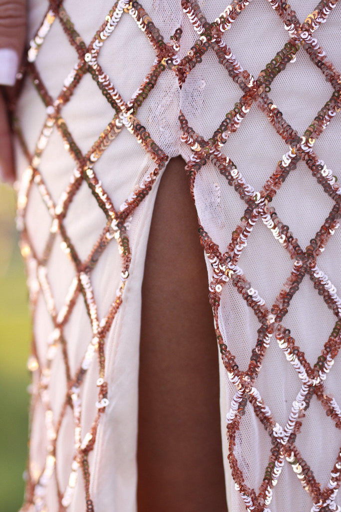 Rose Gold Sequined Maxi Dress with Open Back and Side Slit