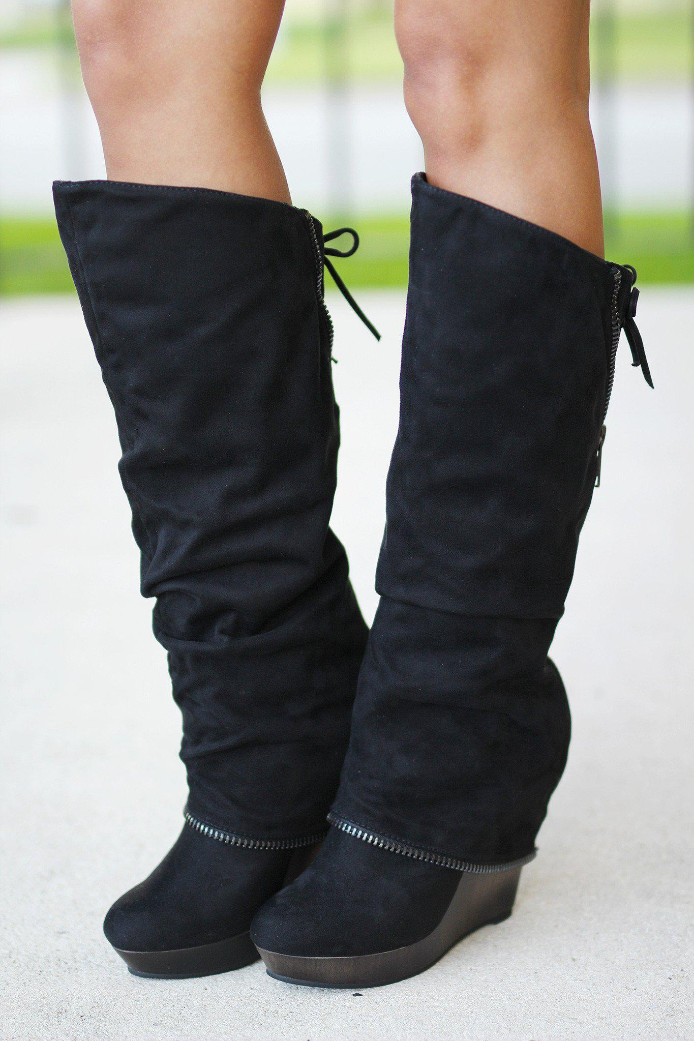 dd02a70eb0a1 Castor Black Wedge Boots