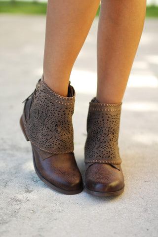 Taupe Lace Up Booties