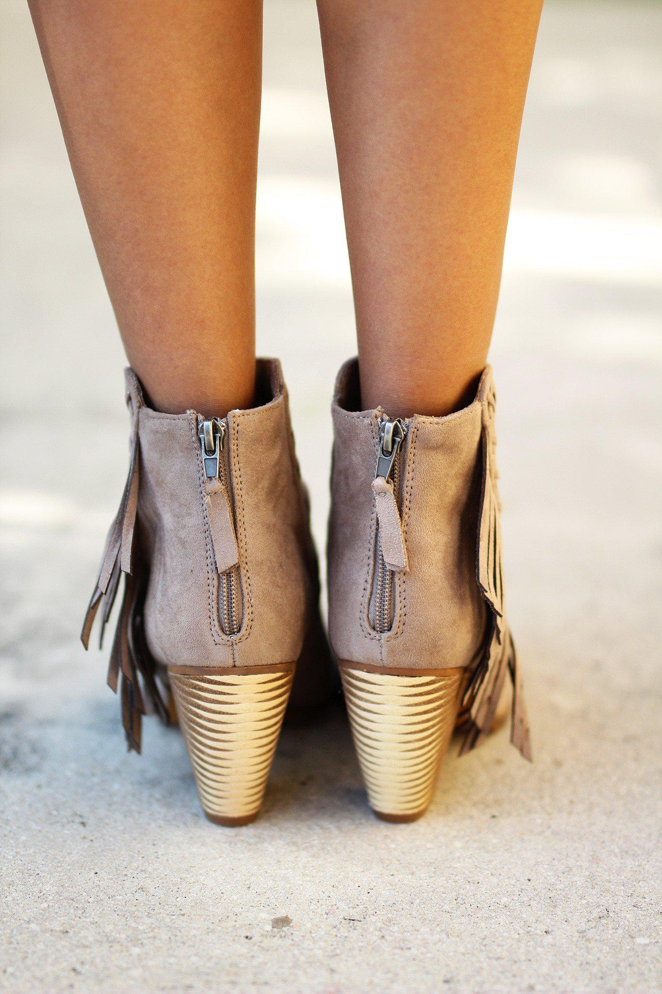 taupe high heel booties