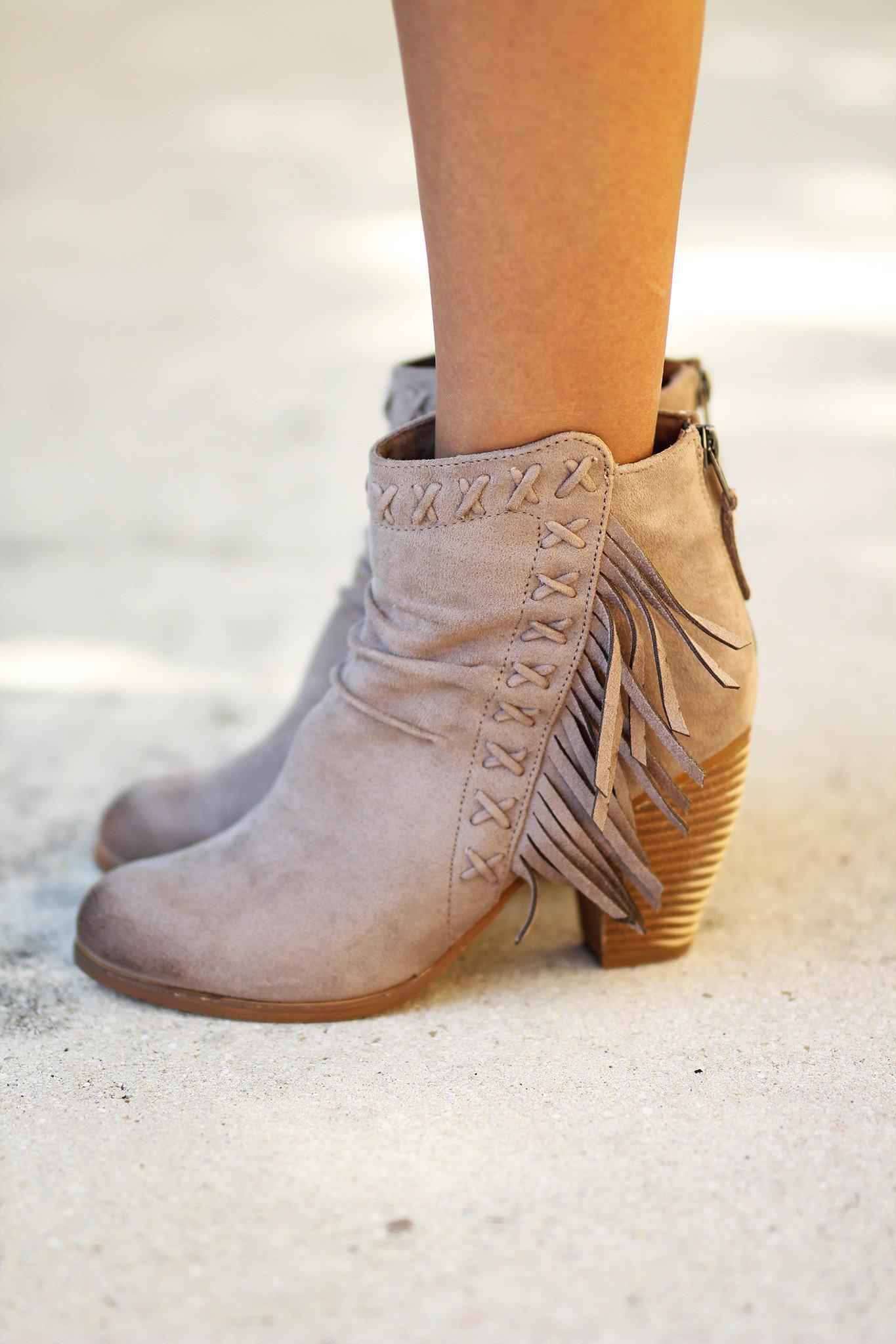 fringe taupe booties