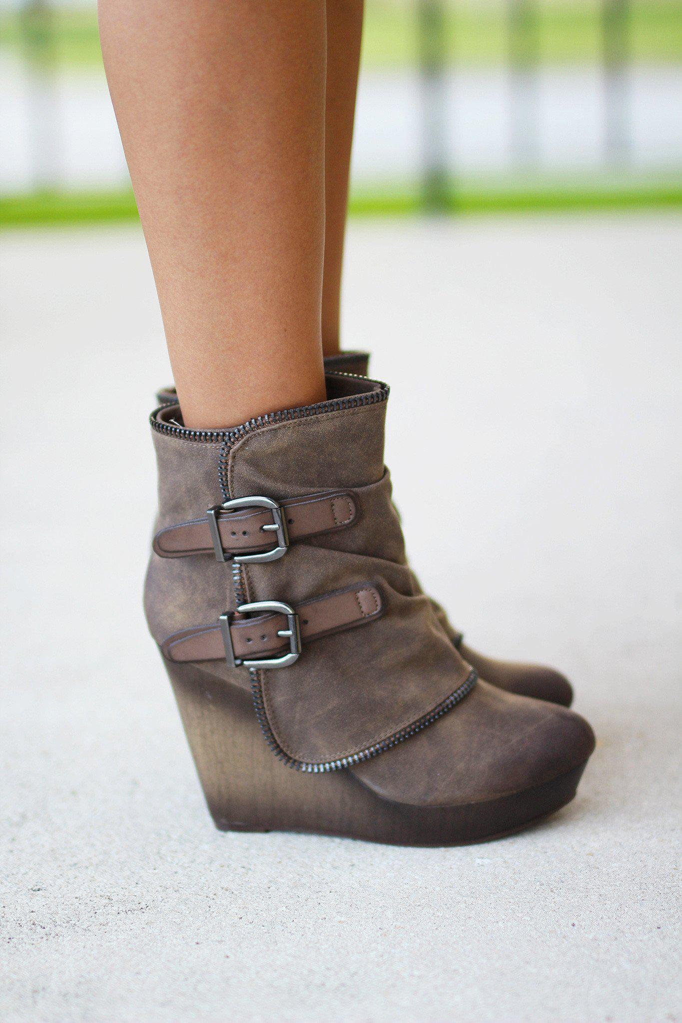 Gemini Taupe Wedge Booties