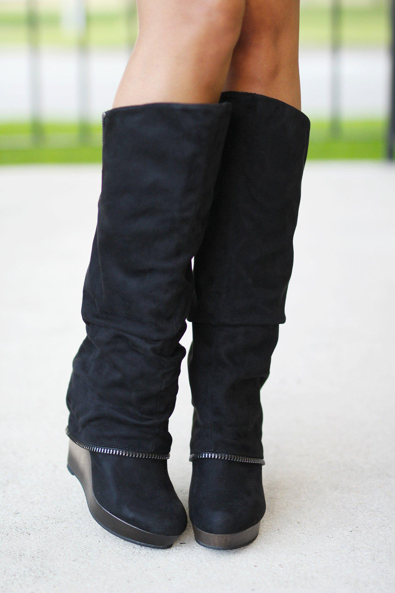 49220dd3f936 Castor Black Wedge Boots  Castor Black Wedge Boots ...