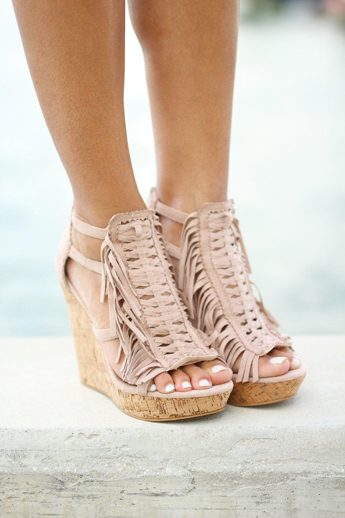 nude open toed wedges