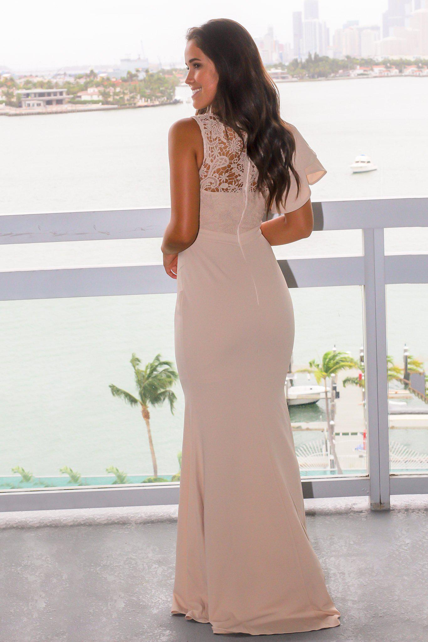 Nude Maxi Dress with Crochet Top and Ruffle Sleeve