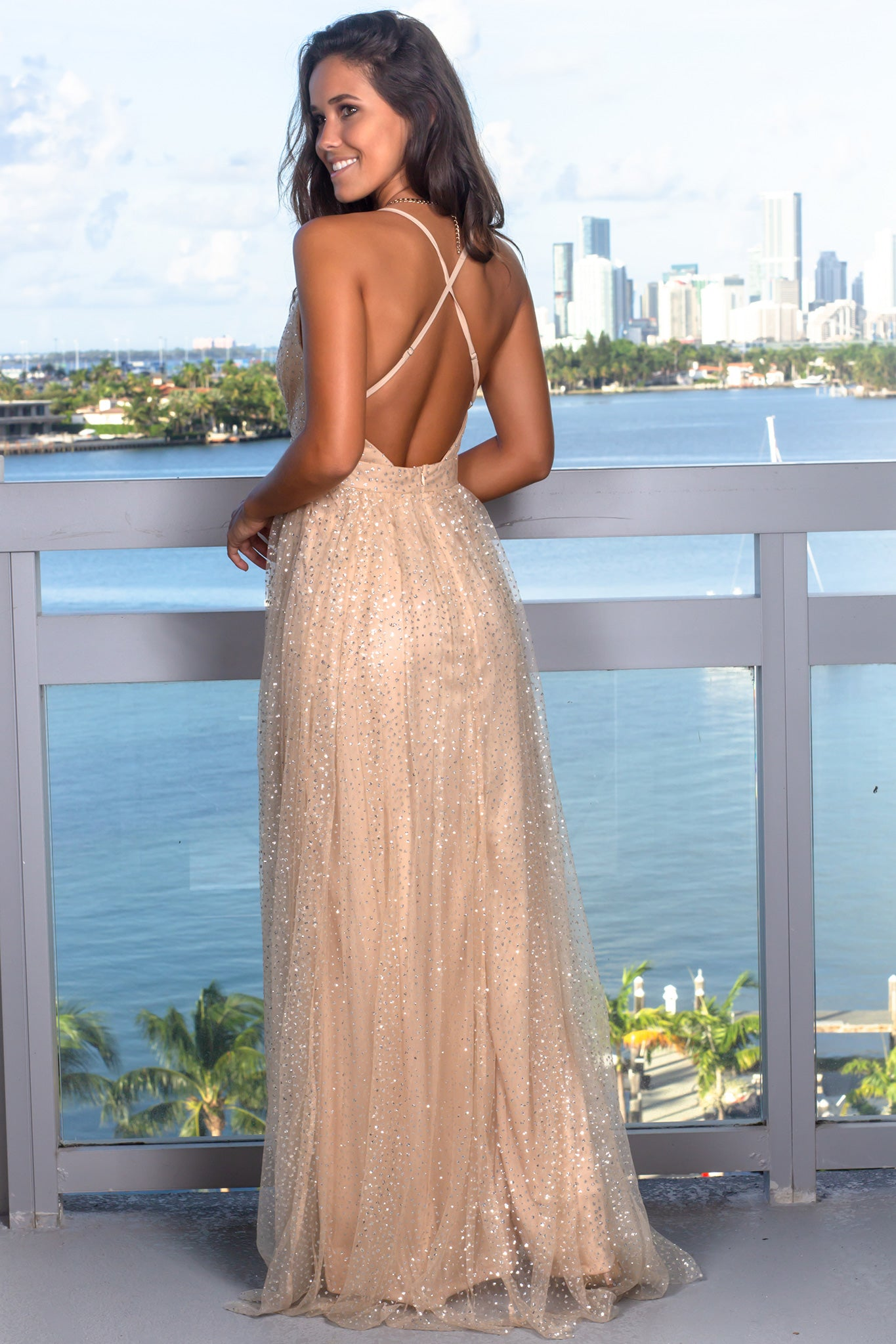 Nude Maxi Dress with Silver Detail